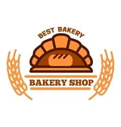 Organic bakery shop symbol with brick oven bread vector image vector image