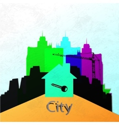 The city wall Construction of a new home abstract vector image