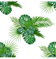 tropical background with jungle plants seamless vector image