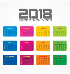 2018 calendar for new year celebration vector image