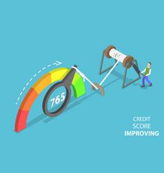 3d isometric flat concept credit score vector
