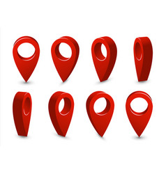 3d pointer location map pin set travel vector image