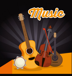 acoustic guitar with instruments vector image