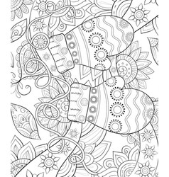 adult coloring bookpage a christmas gloves on the vector image