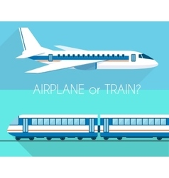 Airplane and train vector image