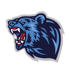angry bear roaring logo mascot template vector image