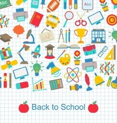 Back to School Background with Education Objects vector image