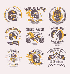 Biker logo rider on motorcycle or bike and vector