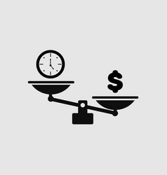 black scales icon with time and money in flat vector image