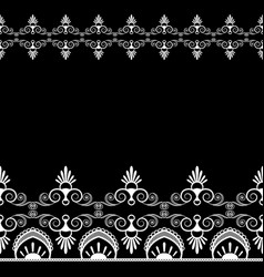 border pattern mehndi elements with flower lace vector image