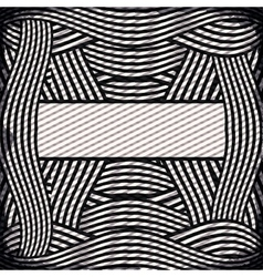 Border with striped lines in monochrome vector