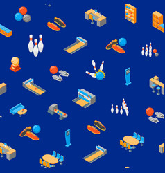 bowling game seamless pattern background isometric vector image