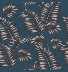 brown tropical leaves seamless dark blue vector image