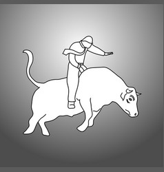 businessman bull rider doodle vector image