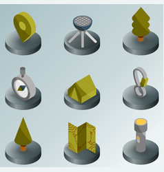camp color isometric icons vector image