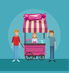 candy shop booth vector image