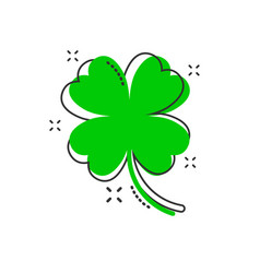 Cartoon four leaf clover icon in comic style vector