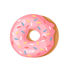 Cartoon pink donut hand drawn vector