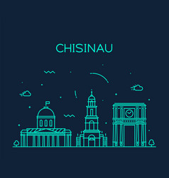 Chisinau skyline moldova linear style city vector