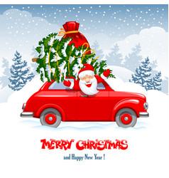 christmas character santa in car vector image
