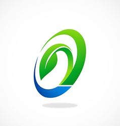 Circle ecology leaf symbol logo vector