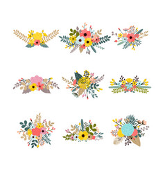 collection with leaves and flowers set of floral vector image
