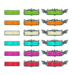 Colorful horizontal buttons for game or web design vector