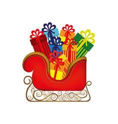 Colorful silhouette of sleigh with gifts vector