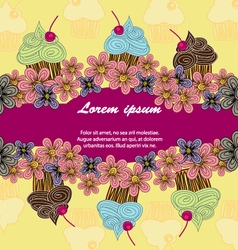 Colour postcard cupcakes vector