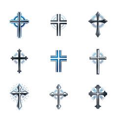 crosses of christianity emblems set heraldic vector image