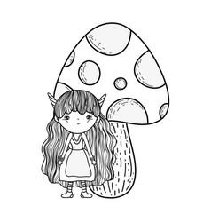 Cute little fairy with fungus vector