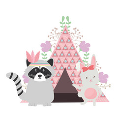 Cute raccoon and rabbit with indian tent boho vector