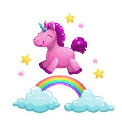 cute textile unicorn toy running on rainbow vector image