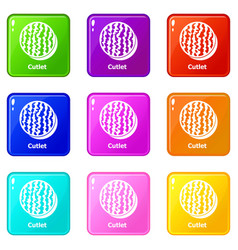 Cutlet icons set 9 color collection vector