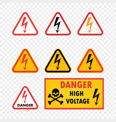 danger high voltage warning sign with skull vector image