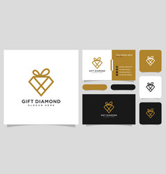 diamond gift logo design and business card vector image