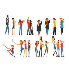 Different happy people taking selfie photo cartoon vector