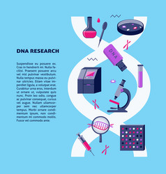 Dna research medical poster template in flat style vector