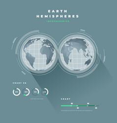 Earth hemispheres infopgraphics vector
