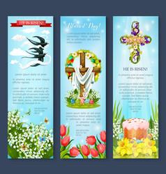 Easter egg cross cake bird cartoon banner set vector