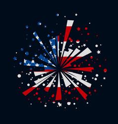 fireworks with usa flag vector image