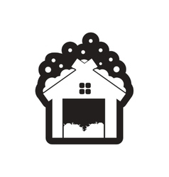 Flat icon in black and white barn vector