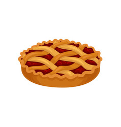flat icon of freshly baked pie with cherry vector image