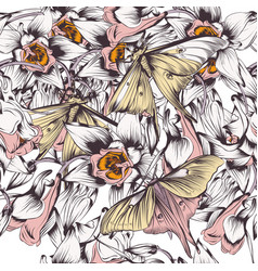 Floral background with butterflies and flowers vector