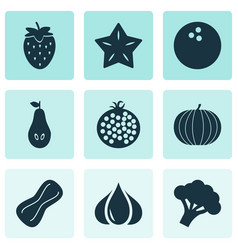 food icons set with starfruit pear garlic and vector image