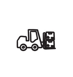 Forklift sketch icon vector