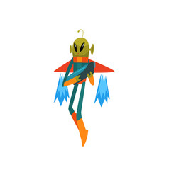 Funny green alien with blaster flying with jetpack vector