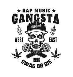gangsta rapper skull in snapback emblem vector image