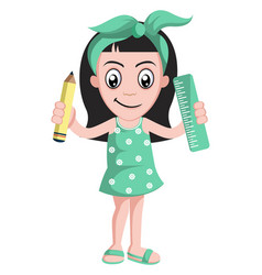 girl with ruler and pen on white background vector image