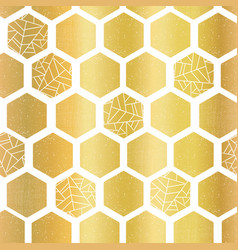 gold foil hexagon shapes seamless pattern vector image